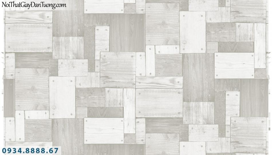 Giấy dán tường PIEDRA, giấy dán tường giả gỗ 3D màu trắng, trắng xám, trắng bạc 22-136