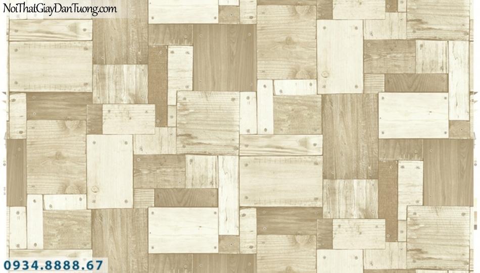 Giấy dán tường PIEDRA, giấy dán tường giả gỗ 3D màu vàng nhạt 22-135