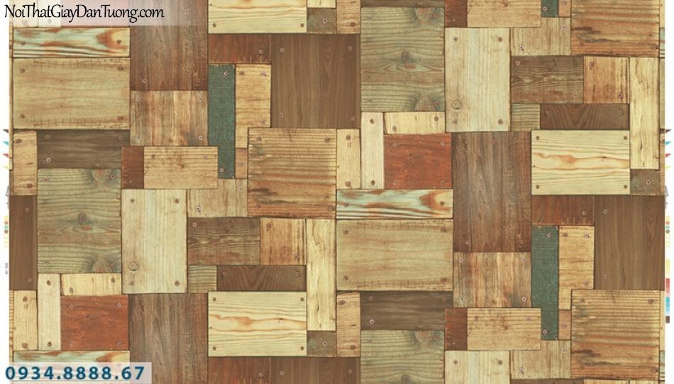 Giấy dán tường PIEDRA, giấy dán tường giả gỗ 3D màu vàng, những miếng gỗ to nhỏ 22-131