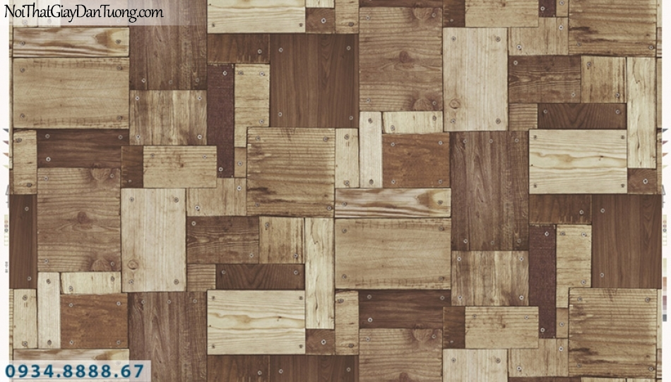 Giấy dán tường PIEDRA, giấy dán tường giả gỗ 3D, những miếng gỗ bắt vít lên tường, tấm gỗ nhỏ đóng đinh vào tường 22-132, màu nâu sẫm