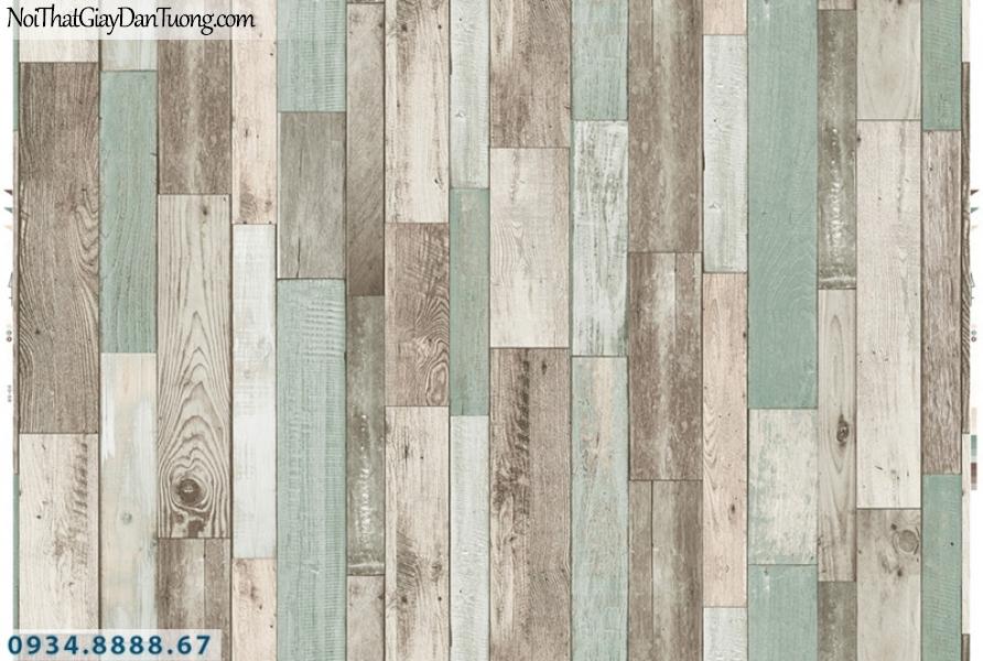 Giấy dán tường PIEDRA, giấy dán tường giả gỗ mà xám nhạt, xanh nhạt 22-122