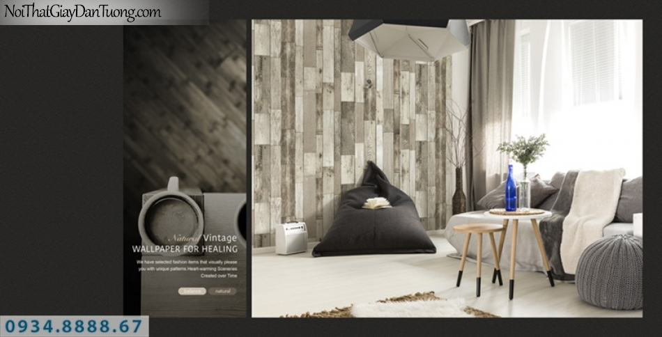Giấy dán tường PIEDRA, giấy dán tường giả gỗ màu trắng, những miếng gỗ nhỏ ghép thành vách tiền 22-126