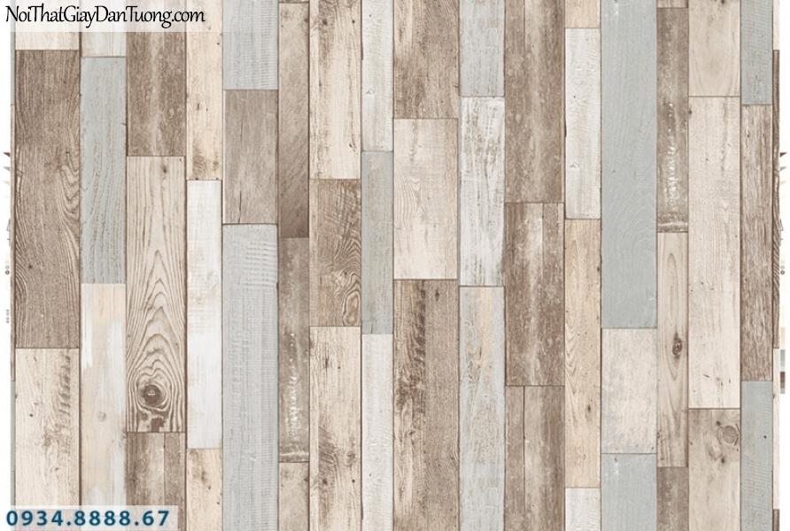 Giấy dán tường PIEDRA, giấy dán tường giả gỗ màu vàng kem, màu trắng nhạt, những miếng gỗ nhỏ ghép tạo thành vách tường gỗ 22-123