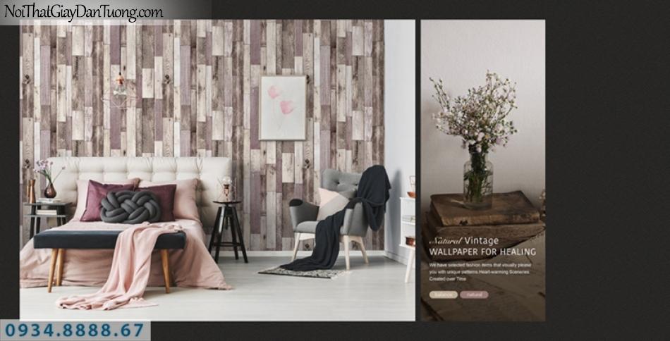 Giấy dán tường PIEDRA, giấy dán tường giả gỗ màu xám, màu tím 22-124, những miếng gỗ vuông nhỏ 22-124