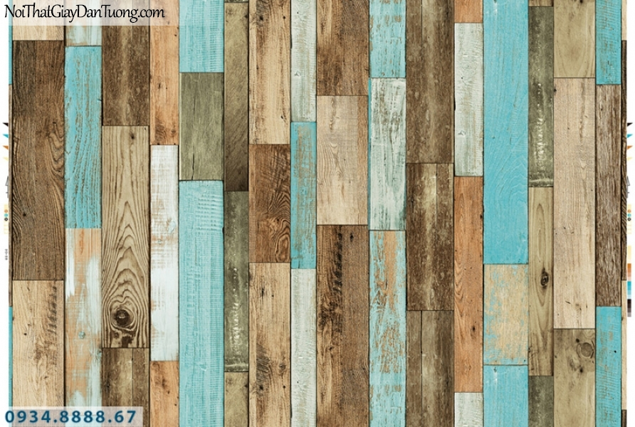 Giấy dán tường PIEDRA, giấy dán tường giả gỗ màu xanh dương, màu vàng 22-121