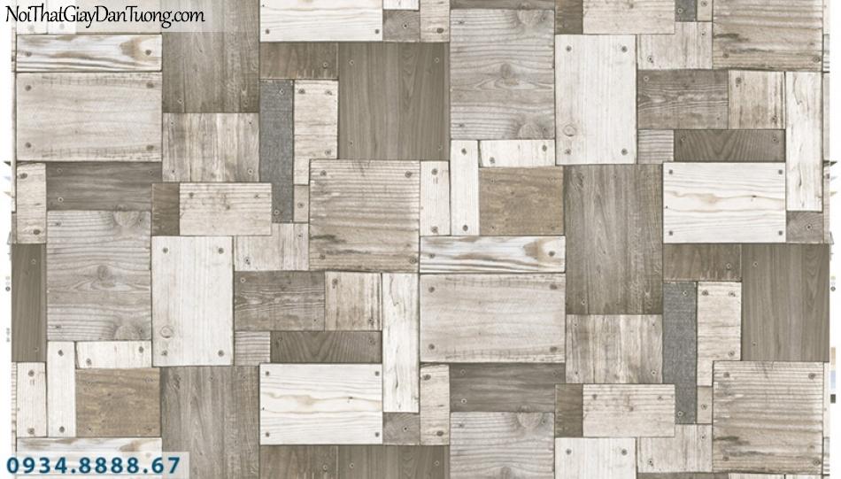 Giấy dán tường PIEDRA, giấy dán tường giả gỗ trắng xám 22-133