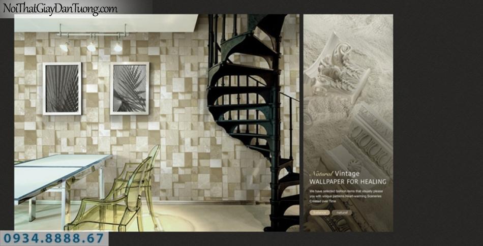Giấy dán tường PIEDRA, giấy dán tường hình ô vuông 3D, giả đá, giả gỗ hình vuông to nhỏ lồi lõm 22-095
