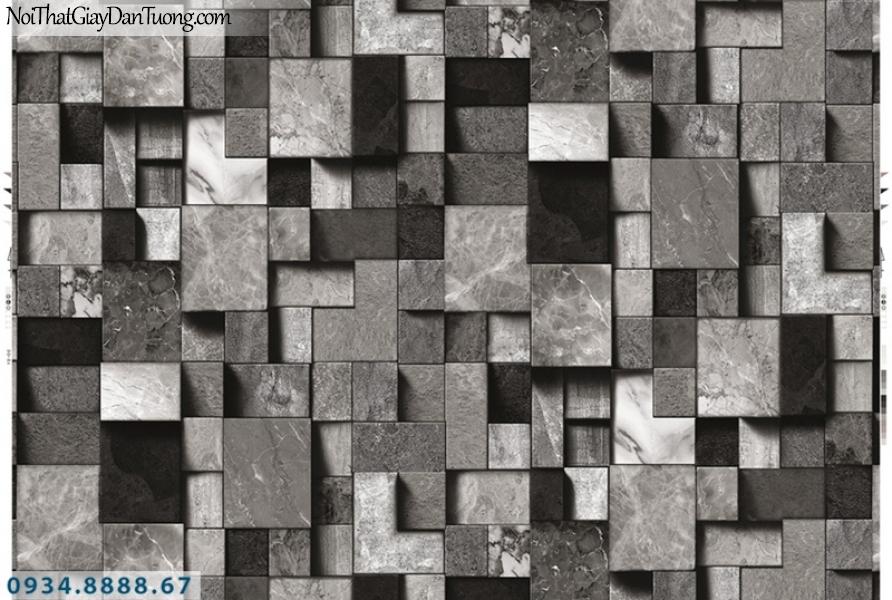 Giấy dán tường PIEDRA, giấy dán tường họa tiết hình vuông 3D, giả gạch 3D, giả gỗ 3D màu đen, mau xám đen 22-096