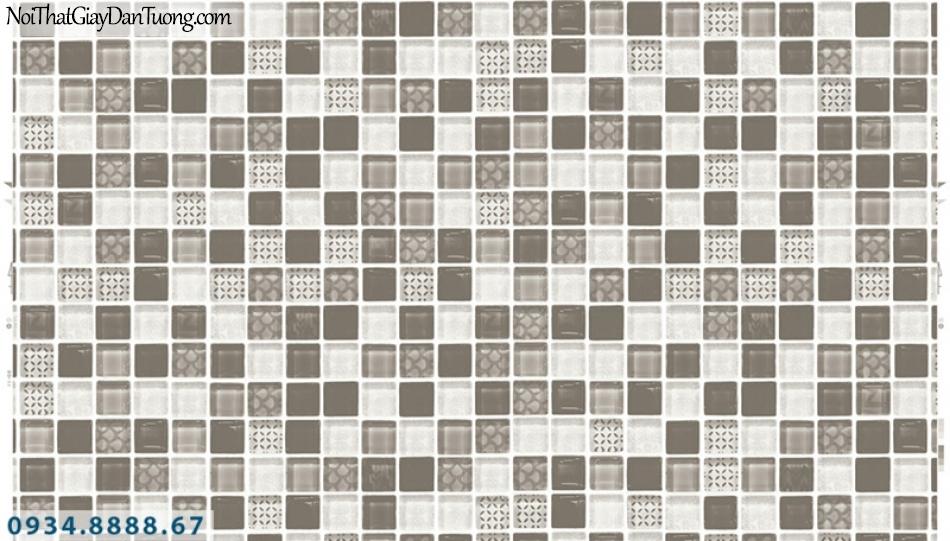 Giấy dán tường PIEDRA, giấy dán tường họa tiết ô vuông 3D, giả gạch, gạch bóng kiếng, gương màu xám nâu, màu đen trắng 22-074