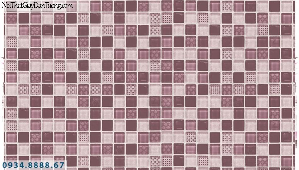 Giấy dán tường PIEDRA, giấy dán tường họa tiết ô vuông màu tím, giả đá bóng kiếng, giả gạch gương 22-071