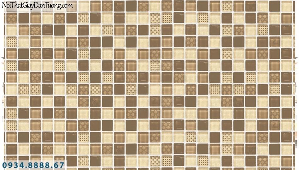 Giấy dán tường PIEDRA, giấy dán tường ô vuông 3D giả gạch, gạch bóng kiếng, gương 22-073 màu vàng, màu kem