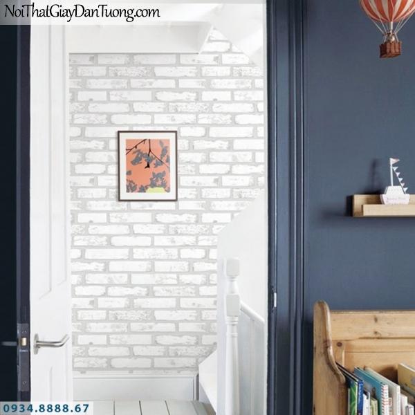 J 100   Giấy dán tường J100 Hàn Quốc, phối cảnh giấy dán tường giả gạch màu trắng 3D 9363-1