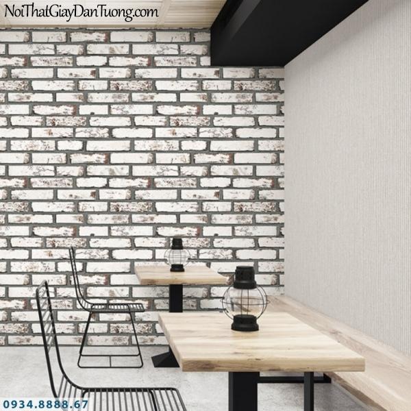 J 100   Giấy dán tường J100 Hàn Quốc, phối cảnh giấy dán tường giả gạch màu trắng, giả gạch 3D 9363-2 - 9372-3
