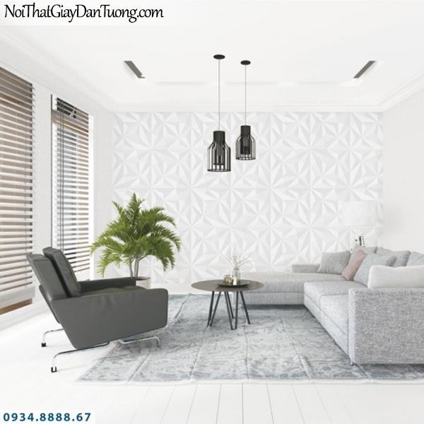 J100 2019 - 2020 | Giấy dán tường Hàn Quốc J100| giấy 3D màu trắng họa tiết tam giác 9396-1 - 9395-1