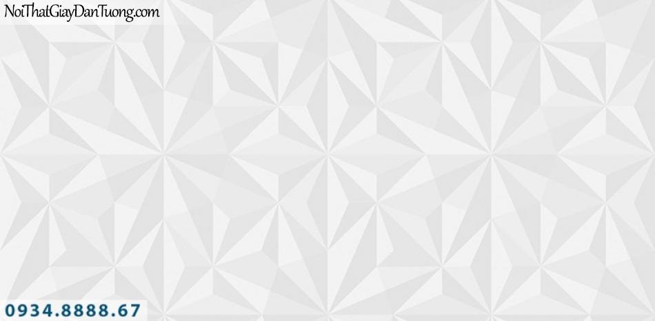 J100 2019 - 2020 | Giấy dán tường Hàn Quốc J100| họa tiết 3D màu trắng tam giác, hình vuông 9396-1