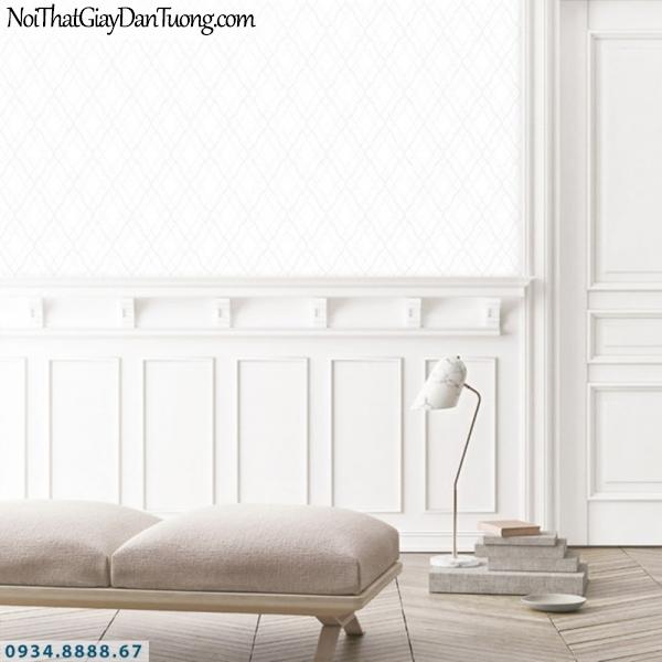 J100 2019 - 2020 | Giấy dán tường Hàn Quốc J100| giấy dán tường màu trắng, chỉ kẻ nhỏ tạo họa tiết hình ca rô, hình con thoi 9399-1
