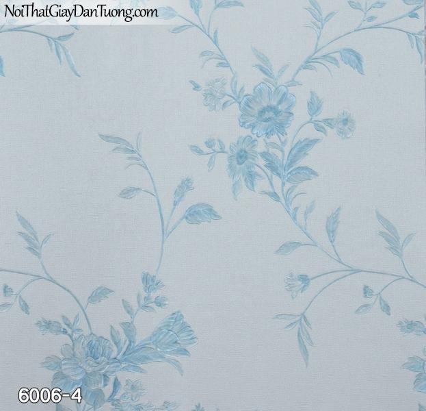 New Luck | Giấy dán tường New Luck 2019 - 2020 | giấy dán tường dây bông hoa leo màu xanh dương, xanh da trời, xanh nước biển 6006-4