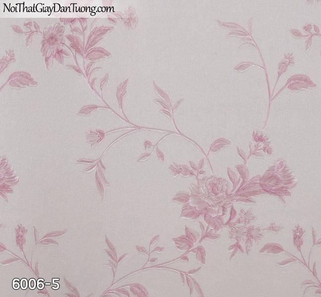 New Luck | Giấy dán tường New Luck 2019 - 2020 | giấy dán tường dây leo bông hoa màu hồng, màu tím 6006-5