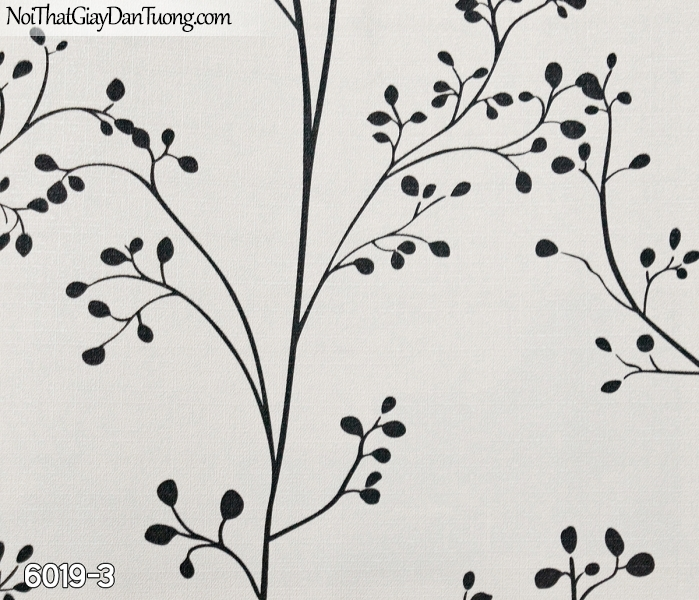 New Luck | Giấy dán tường New Luck 2019 - 2020 | giấy dán tường dây leo tường màu đen 6019-3