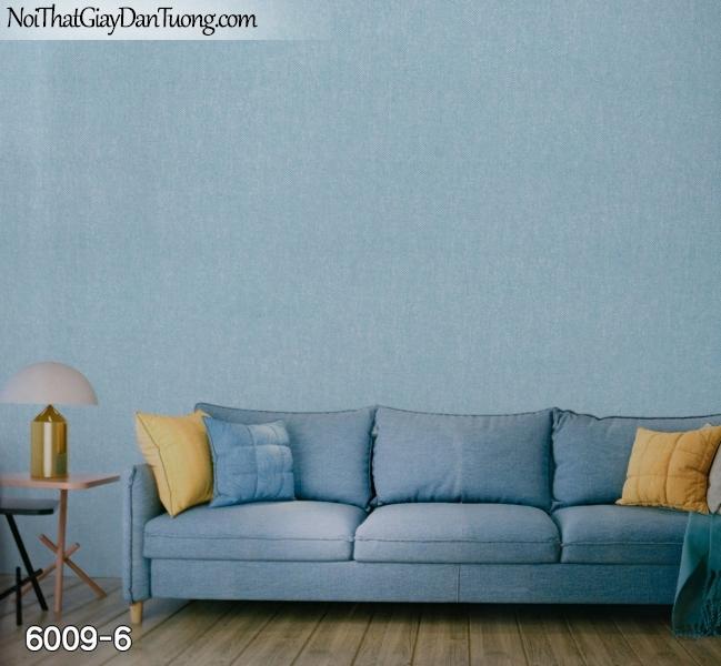 New Luck | Giấy dán tường New Luck 2019 - 2020 | giấy dán tường gân trơn màu xanh dương, xanh dương nhạt, da trời nước biển 6009-6