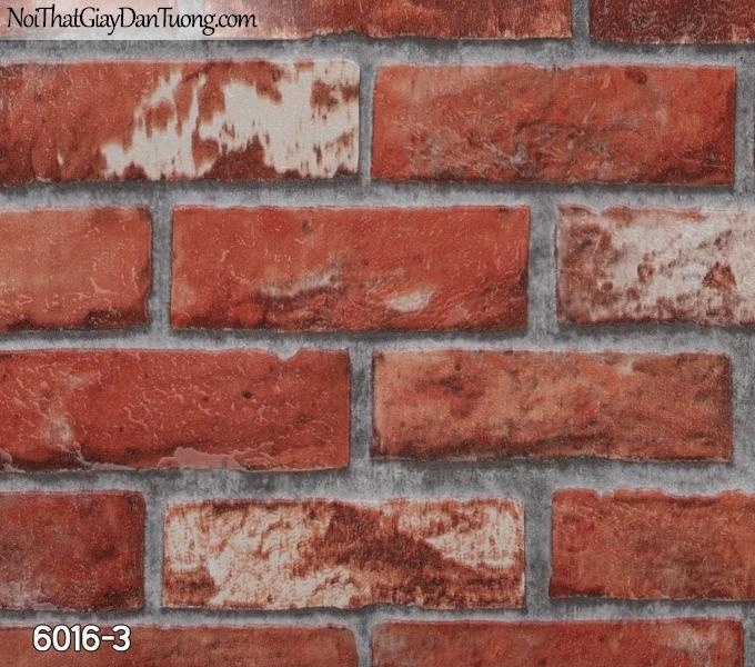 New Luck | Giấy dán tường New Luck 2019 - 2020 | giấy dán tường giả gạch màu đỏ, giả gạch 3D đẹp 6016-3