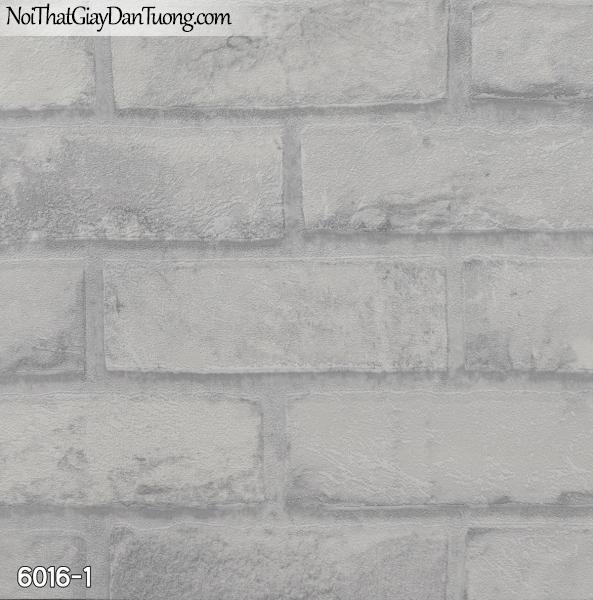 New Luck | Giấy dán tường New Luck 2019 - 2020 | giấy dán tường giả gạch màu trắng xám, giấy giả gạch 3D, màu xám trắng 6016-1
