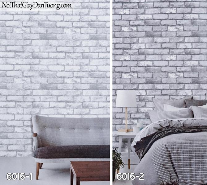 New Luck | Giấy dán tường New Luck 2019 - 2020 | giấy dán tường giả gạch màu xám, giấy giả gạch màu nâu, màu đen 6016-1 - 6016-2