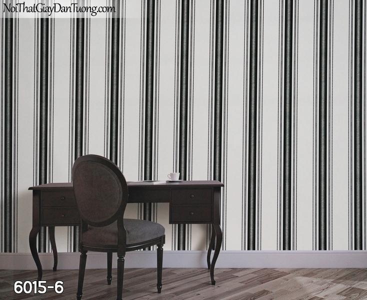 New Luck | Giấy dán tường New Luck 2019 - 2020 | giấy dán tường kẻ sọc màu đen trắng, sọc bản lớn, sọc dọc, sọc to 6015-6