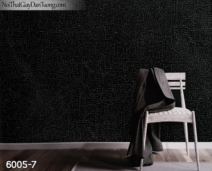 New Luck | Giấy dán tường New Luck 2019 - 2020 | giấy dán tường màu đen, gân vuông nhỏ màu đen tối 6005-7