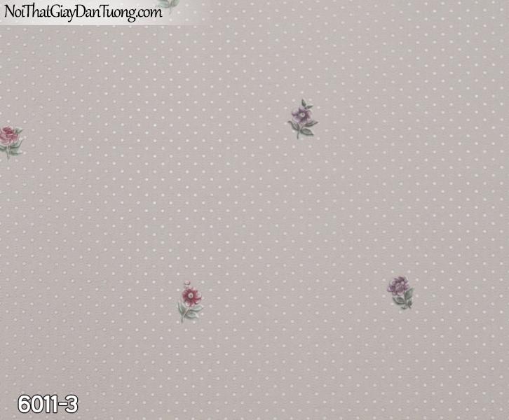 New Luck | Giấy dán tường New Luck 2019 - 2020 | giấy dán tường màu tím, màu hồng, những bông hoa nhỏ li ti 6011-3