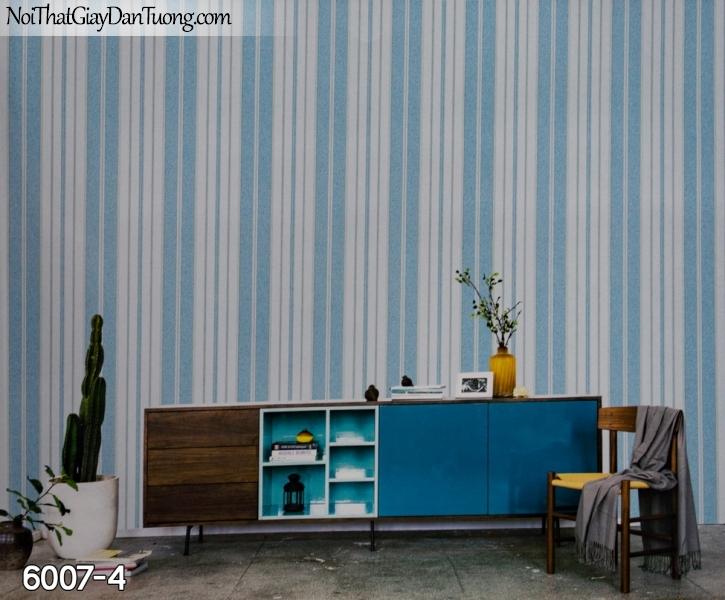 New Luck | Giấy dán tường New Luck 2019 - 2020 | giấy dán tường sọc màu xanh, sọc bản lớn, sọc trơn, sọc gân 6007-4, xanh dương, da trời, nước biển