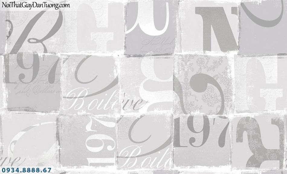 SOHO | Giấy dán tường SOHO 56116-1 | giấy dán tường dạng chữ, chữ viết, chữ in trên nền giấy, màu xám