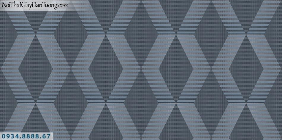 SOHO | Giấy dán tường SOHO 56117-3 | giấy dán tường kẻ sọc ngang màu xám xanh, màu tối tạo thành họa tiết ca rô