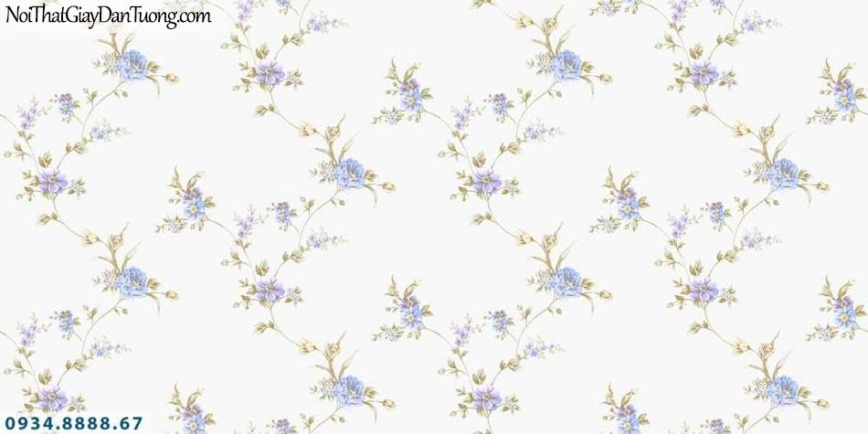 Lily | Giấy dán tường Lily 36001-5 | những bông hoa màu tím, dây leo tường nền màu trắng đẹp