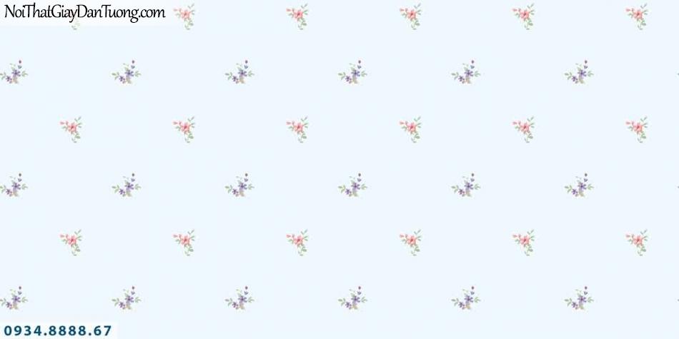 Lily | Giấy dán tường Lily 36002-3 | giấy dán tường hình bông hoa nhỏ màu xanh dương, hoa bay trong gió, hoa rơi trên tường
