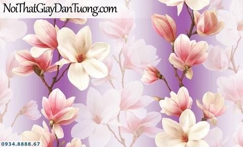 Lily | Giấy dán tường Lily 36004-3 | giấy dán tường nền màu xám bê tông những bông hoa màu xanh tím