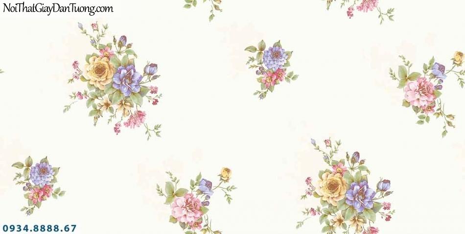 Lily | Giấy dán tường Lily 36004-4 | giấy dán tường nền màu kem những bông hoa nhiều màu xanh đỏ tím vàng