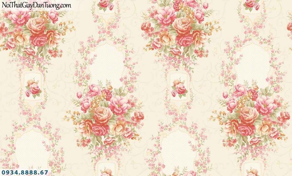 Lily | Giấy dán tường Lily 36006-1 | Giấy dán tường bông hoa, dây hoa leo tường, từng chùm hoa đẹp màu hồng
