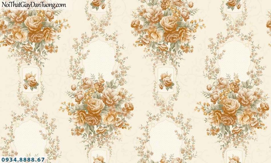 Lily | Giấy dán tường Lily 36006-2 | giấy dán tường bông hoa màu vàng, dây leo tường những chùm bông nhiều màu sắc đẹp