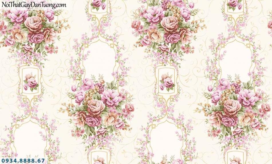 Lily | Giấy dán tường Lily 36006-5 | giấy dán tường bông hoa màu hồng nhạt, dây leo tường những chùm bông nhiều màu sắc đẹp