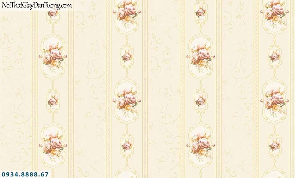 Lily | Giấy dán tường Lily 36008-1 | giấy dán tường kẻ sọc bông hoa, hoa văn sọc, sọc bông màu vàng, kẻ sọc lớn