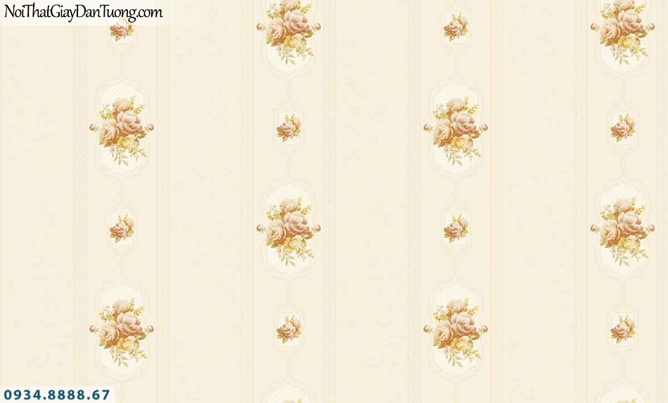 Lily | Giấy dán tường Lily 36008-2 | giấy dán tường sọc và bông hoa, hoa và kẻ sọc lớn màu vàng, giấy sọc bông