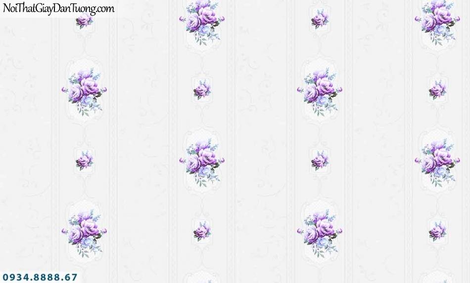 Lily | Giấy dán tường Lily 36008-3 | giấy dán tường sọc hoa văn màu tím, bông hoa và sọc bản lớn