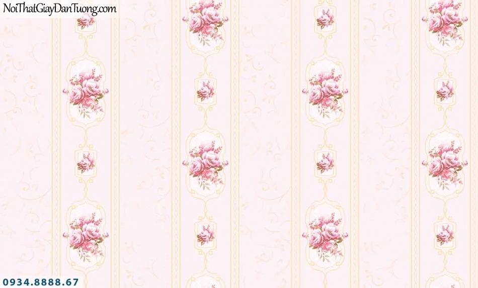 Lily | Giấy dán tường Lily 36008-4 | giấy dán tường hoa văn kẻ sọc, sọc và bông hoa, sọc bông màu hồng