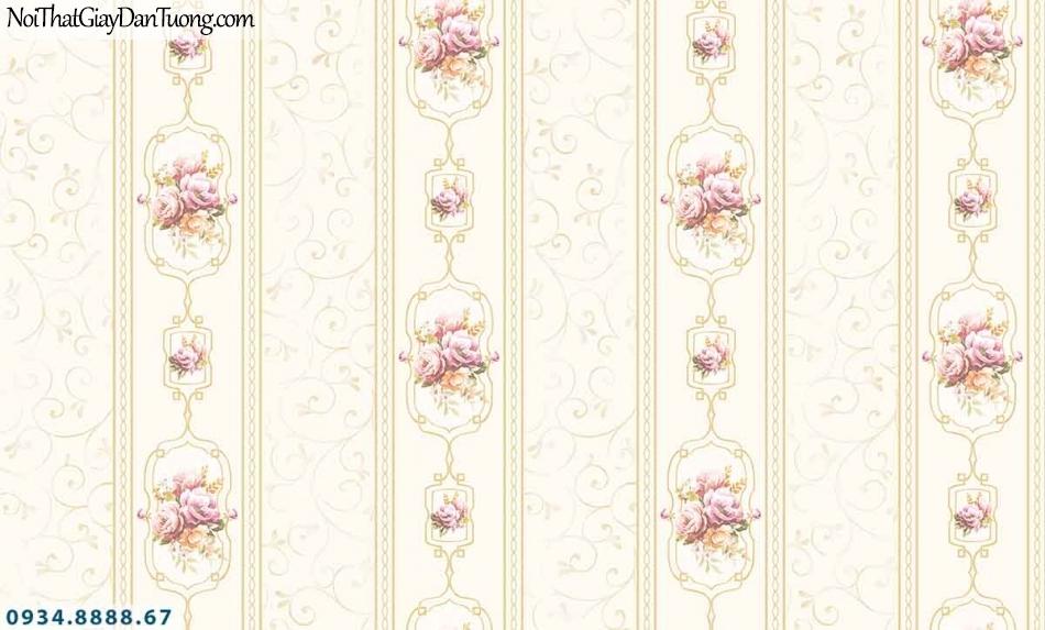 Lily | Giấy dán tường Lily 36008-5 | giấy dán tường kẻ sọc bông hoa màu vàng kem, giấy sọc bông đẹp