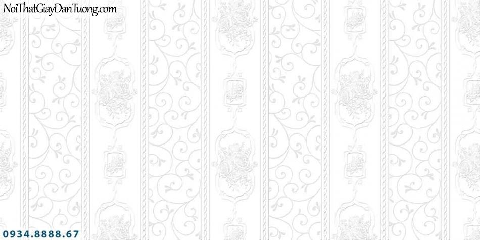 Lily | Giấy dán tường Lily 36008-6 | giấy dán tường sọc bông hoa màu xám trắng, giấy sọc bông màu trắng xám đẹp