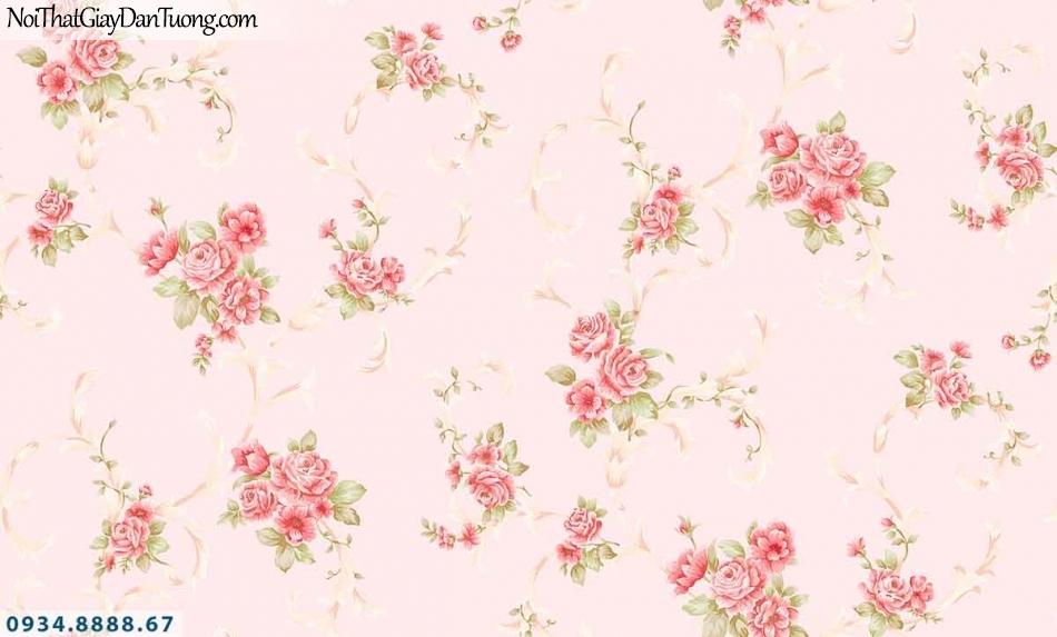 Lily | Giấy dán tường Lily 36009-1 | giấy dán tường bông hoa màu hồng, những chùm hoa màu hồng, màu đỏ rơi, lưa thưa đều