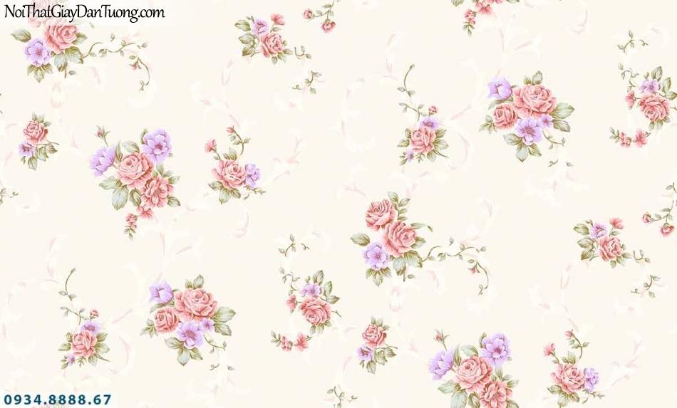Lily | Giấy dán tường Lily 36009-2 | giấy dán tường màu vàng kem, những khóm bông hoa rơi đều nhiều màu sắc đẹp