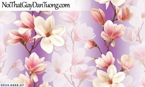 Lily | Giấy dán tường Lily 36009-4 | giấy dán tường những chùm hoa rơi màu tím đẹp, hoa bay trong gió