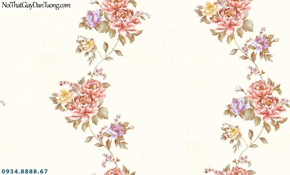 Lily | Giấy dán tường Lily 36011-2 | giấy dán tường bông hoa màu hồng, màu vàng, dây hoa leo uốn lượn đẹp